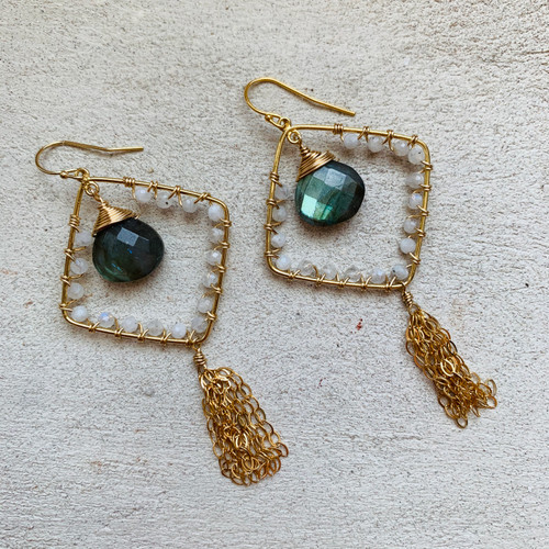 Candy Collection | Labradorite & Moonstone Tassel Earrings