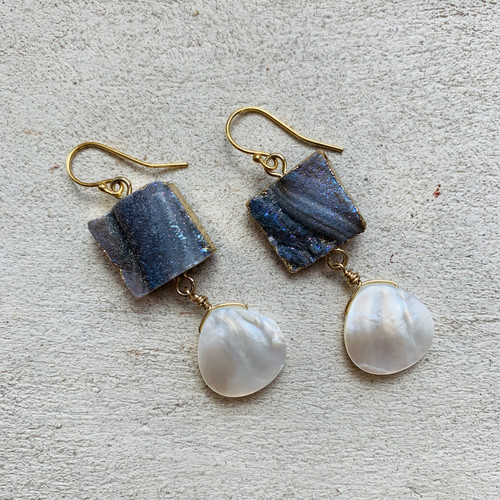 Iridescent Druzy & Mother of Pearl Classic Earrings