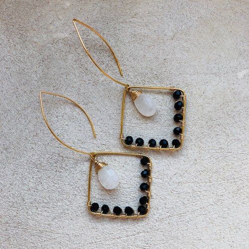 Candy Collection | Moonstone & Onyx Earrings