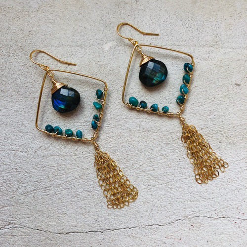 Candy Collection | Turquoise & Labradorite Tassel Earrings