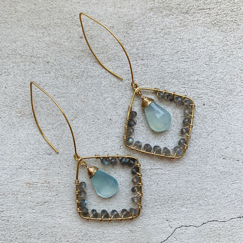 Candy Collection | Labradorite & Chalcedony Earrings