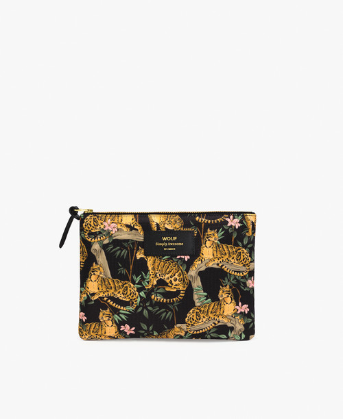 Large Pouch | Black Lazy Jungle