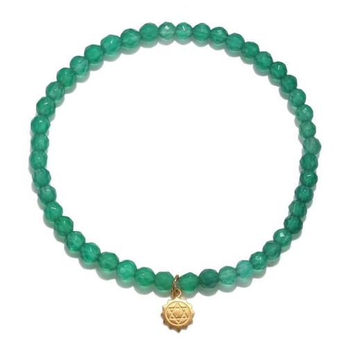 Chakra Bracelet | Green Onyx Heart