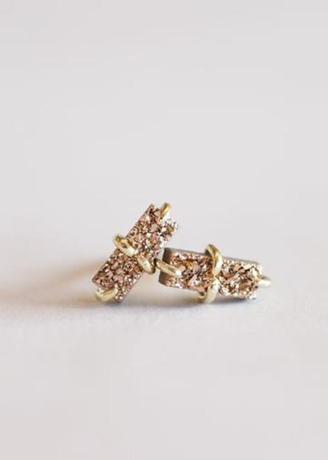 Rose Gold Druzy Bar Stud Earrings