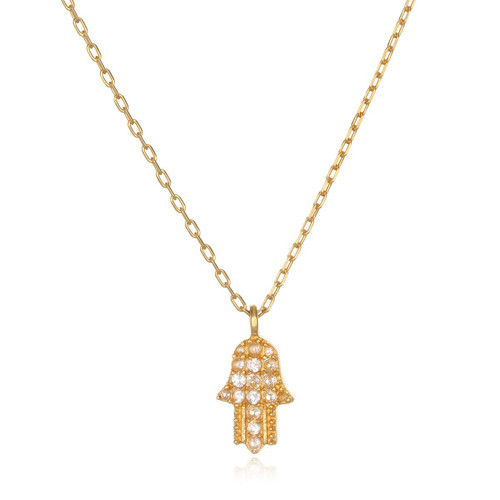 Hamsa White Topaz Necklace