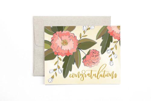 Congrats Peonies Card