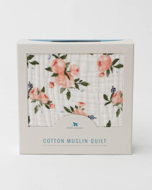 Cotton Muslin Quilt   Watercolor Roses