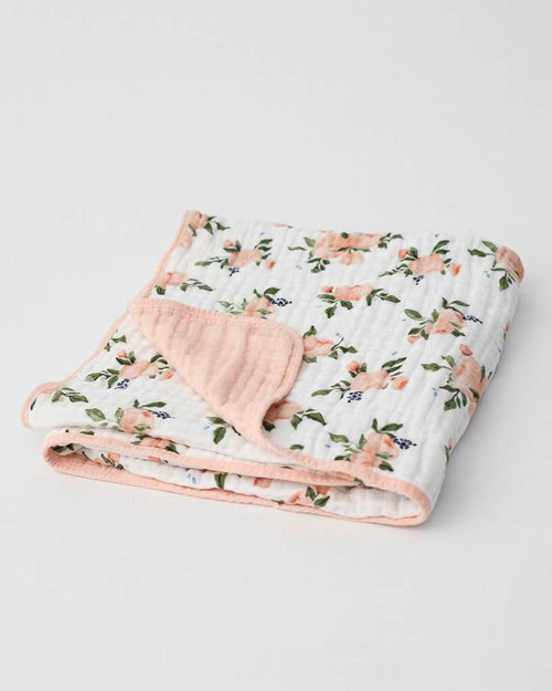 Cotton Muslin Quilt | Watercolor Roses