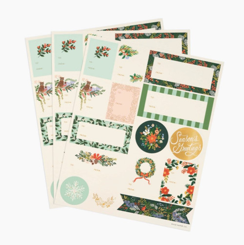Winter Floral Stickers & Labels   3 Pack