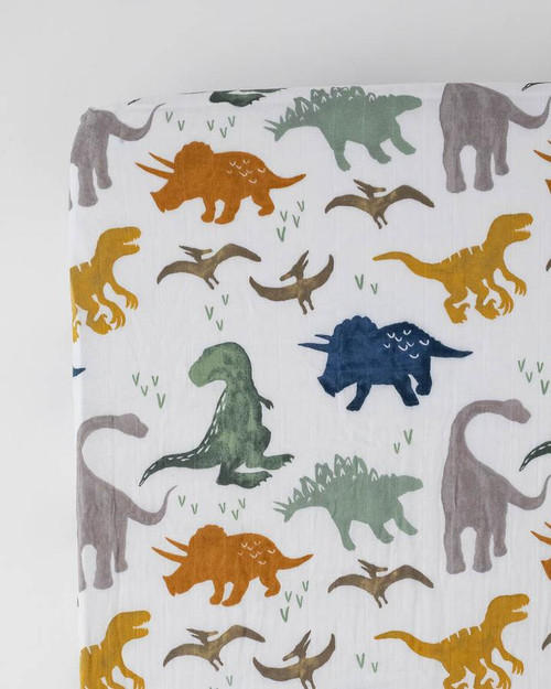 Cotton Muslin Crib Sheet | Dino Friends