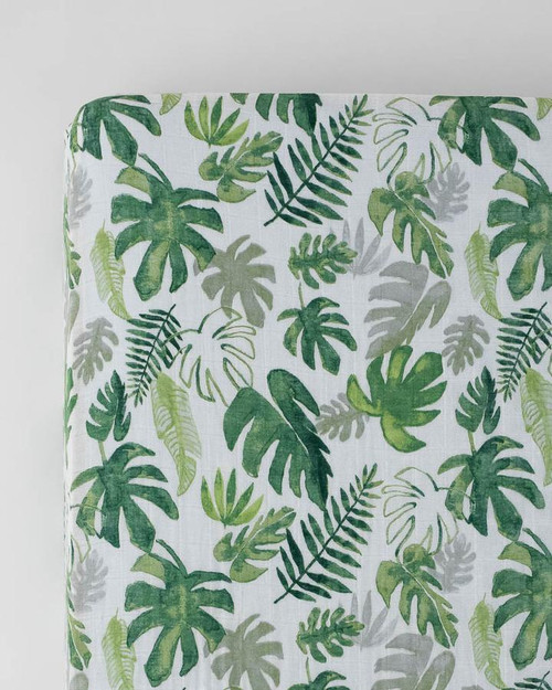 Cotton Muslin Crib Sheet | Tropical