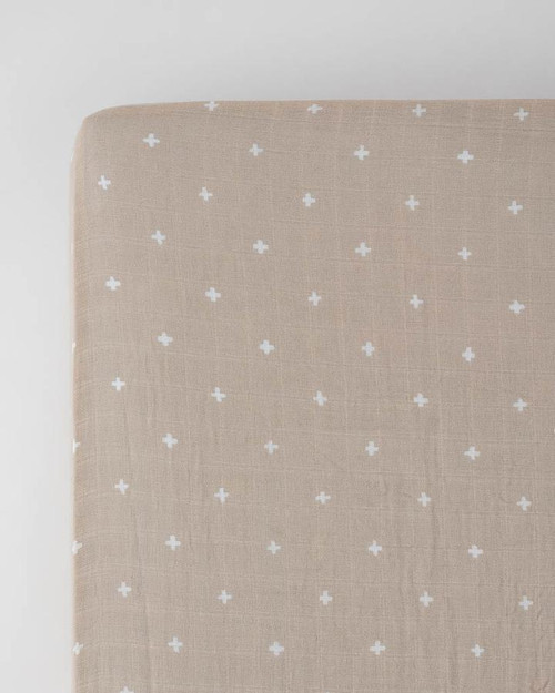 Cotton Muslin Crib Sheet | Taupe Cross