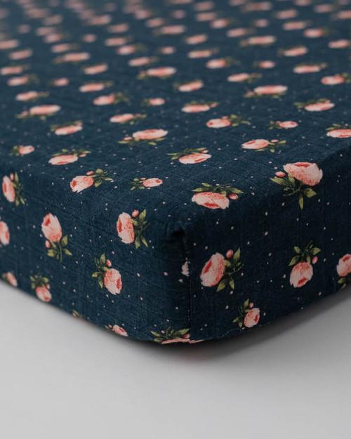 Cotton Muslin Crib Sheet | Midnight Rose