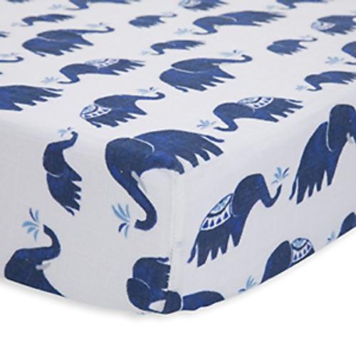 Cotton Muslin Crib Sheet | Indie Elephant