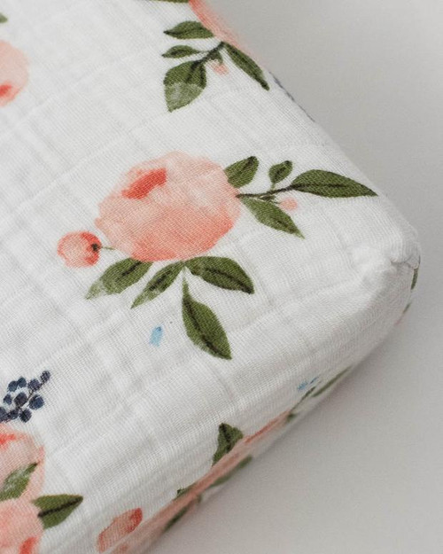 Cotton Muslin Crib Sheet | Watercolor Roses