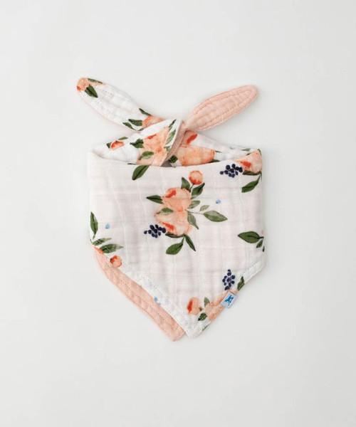 Cotton Muslin Watercolor Roses Bib