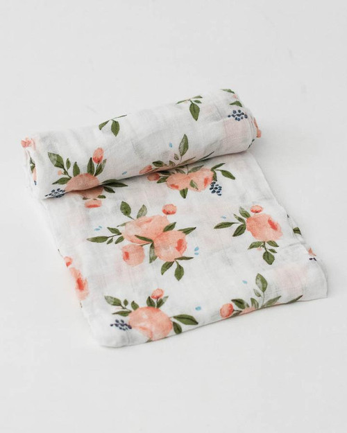 Cotton Muslin Swaddle | Watercolor Roses