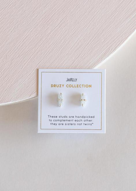 White Bar Druzy Earrings