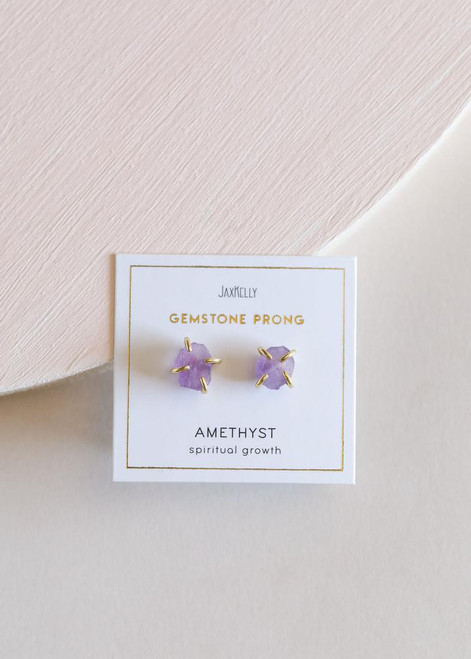 Amethyst Gemstone Prong Earrings