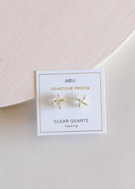 Clear Quartz Gemstone Prong Earrings
