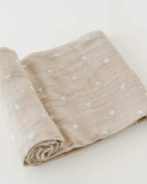 Cotton Muslin Swaddle | Taupe Cross