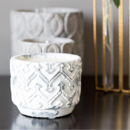 White Distressed Stone Candle | Sugared Citrus