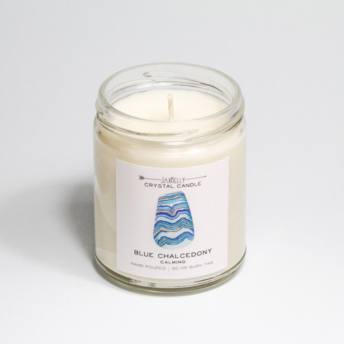 Blue Chalcedony Crystal Candle - Calming