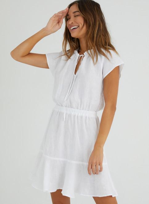 Flutter Sleeve Mini Dress | White