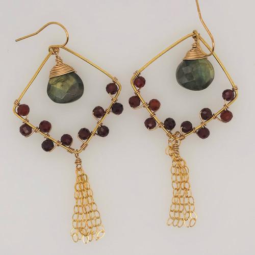 Candy Collection | Diamond Labradorite & Garnet Tassel Earings