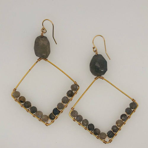 Candy Collection | Large Diamond Labradorite earrings