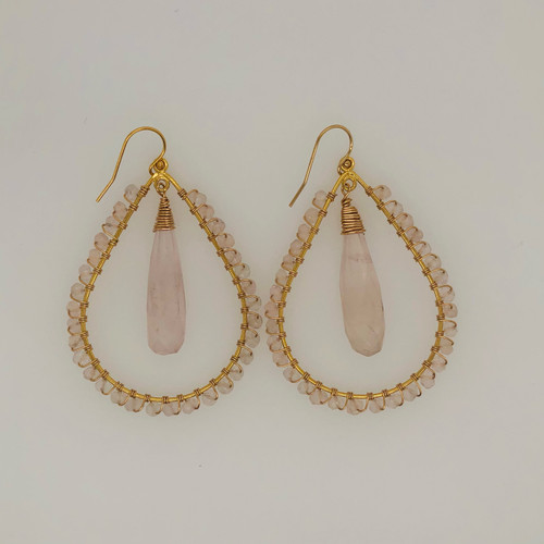 Candy Collection | Large Teardrop Rose Quartz Earrings