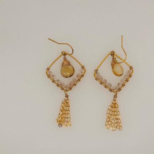 Candy Collection | Small Diamond Citrine & Rose Quartz Tassel Earrings