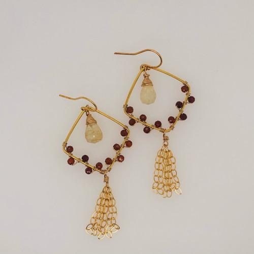 Candy Collection | Small Diamond Garnet & Rutilated Quartz Tassel Earrings