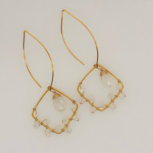 Candy Collection | Small Diamond Moonstone Earrings