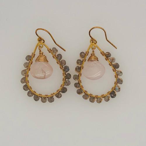 Candy Collection | Small Teardrop Rose Quartz & Labradorite Earrings