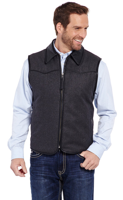 7d43712ade Zip Front Wool Melton Vest With Faux Leather Trim