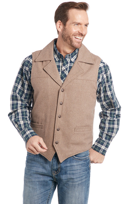 2d12be1ea0 Wool Melton Snap Front Collared Vest With Concealed Carry Pocket