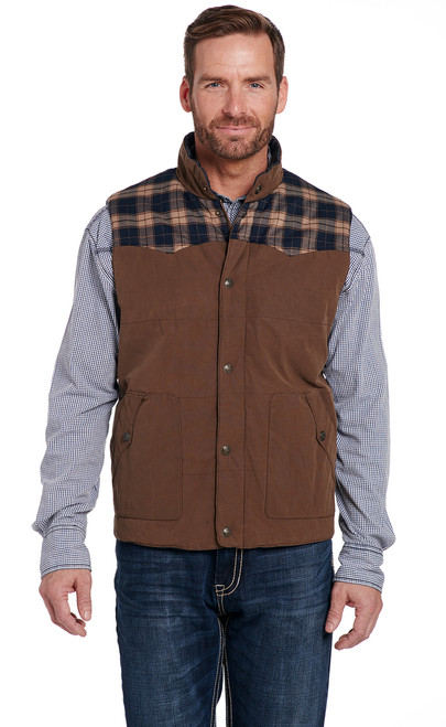 d5850509ee Wax Coated Snap Zip Front Vest With Flannel Yokes