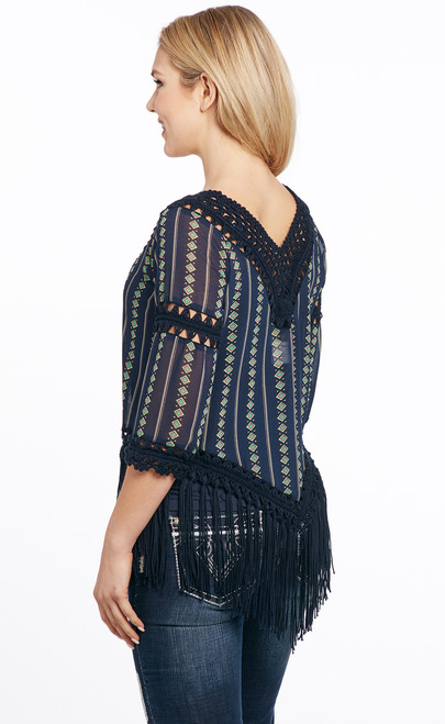 Printed Fabric Crochet Fringe Top Cripple Creek