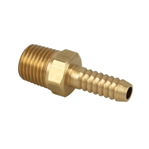 "1/4"" Male Pipe Thread x 1/4"" Hose Barb Brass Fitting."