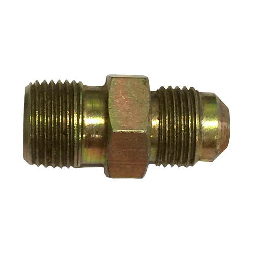 "3/8"" Male Flare x 3/8"" MPT Brass Fitting."