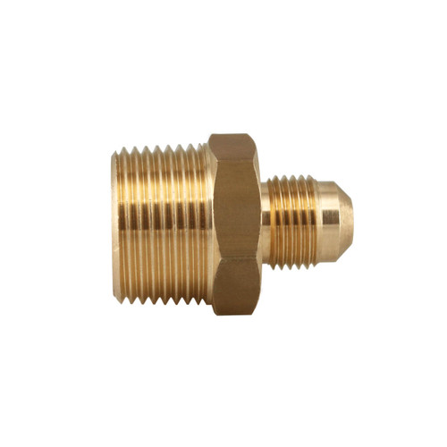 """3/8"""" Male Flare x 3/4"""" Male Pipe Thread Brass Fitting."""