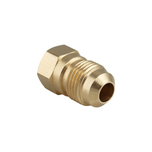 "3/8"" Male Flare x 1/4"" Female Pipe Thread Solid Brass Fitting."