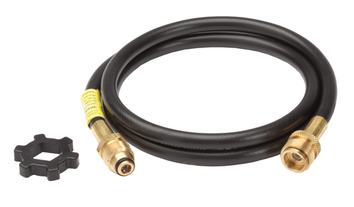 """12 Ft. Mr. Heater Tank to Appliance Propane Hose with Soft Nose POL x 1""""x20 Male Throwaway Cylinder Thread."""