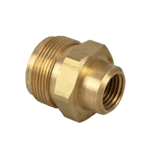 "1""x20 Male Throwaway Cylinder Thread x 1/4"" Female Pipe Thread Brass Fitting."
