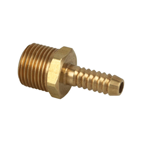 "1/4"" Hose Barb x 3/8"" Male Pipe Thread Brass Fitting."