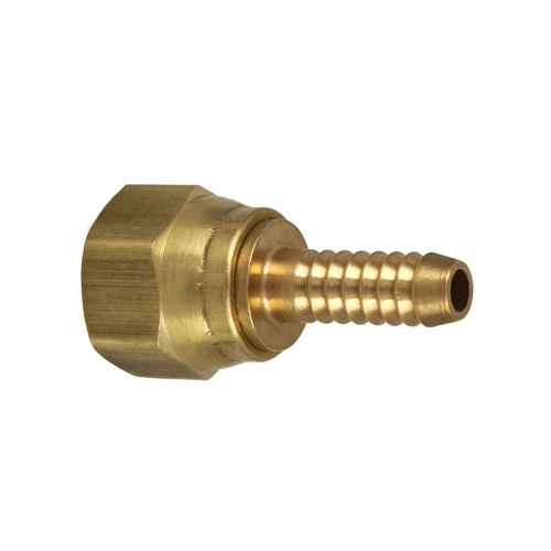 "3/8"" Female Flare Swivel x 1/4"" Hose Barb Brass Fitting."