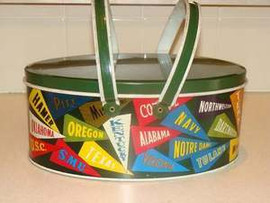 Collegiate Banner Tin Lunchbox or Sewing Box