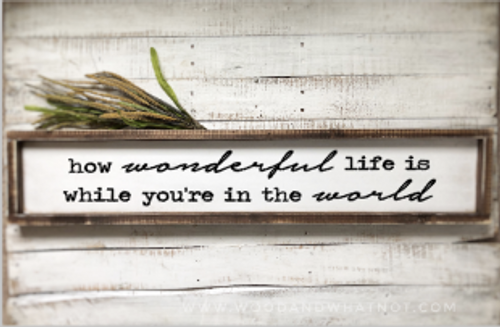 How wonderful life is while you're in the world