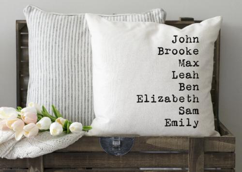 Grandkids Name Pillow